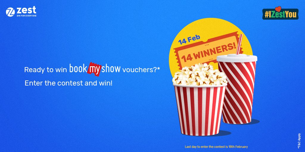 ***CONTEST ALERT***  Want to win INR 1,500 worth @bookmyshow vouchers? Using #IZestYou, tell us the product or person you love most in the world, and why, and you stand a chance to be one of the 14 winners!  #Contest #ZestMoney #EMIForEveryone https://zestmoney.inpic.twitter.com/BYDMCxSlWW