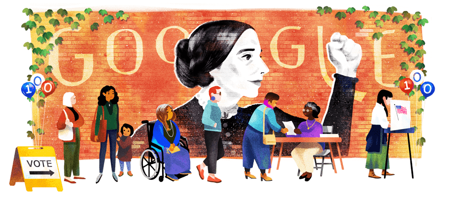 This year marks the 100th anniversary of womens suffrage in the U.S., & todays #GoogleDoodle celebrates the 200th birthday of one of the key figures who made it possible: social reformer & activist Susan B. Anthony 🇺🇸 → goo.gle/2viP4qv