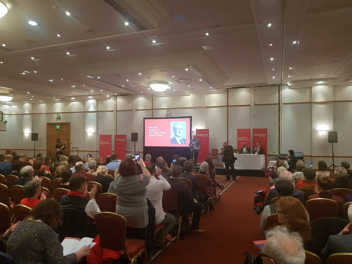 Storm Dennis not putting us off as @jeremycorbyn giving the keynote speech about key local elections, what Labour will do for the South West and how the SW can be at the forefront of a Green Industrial Revolution.