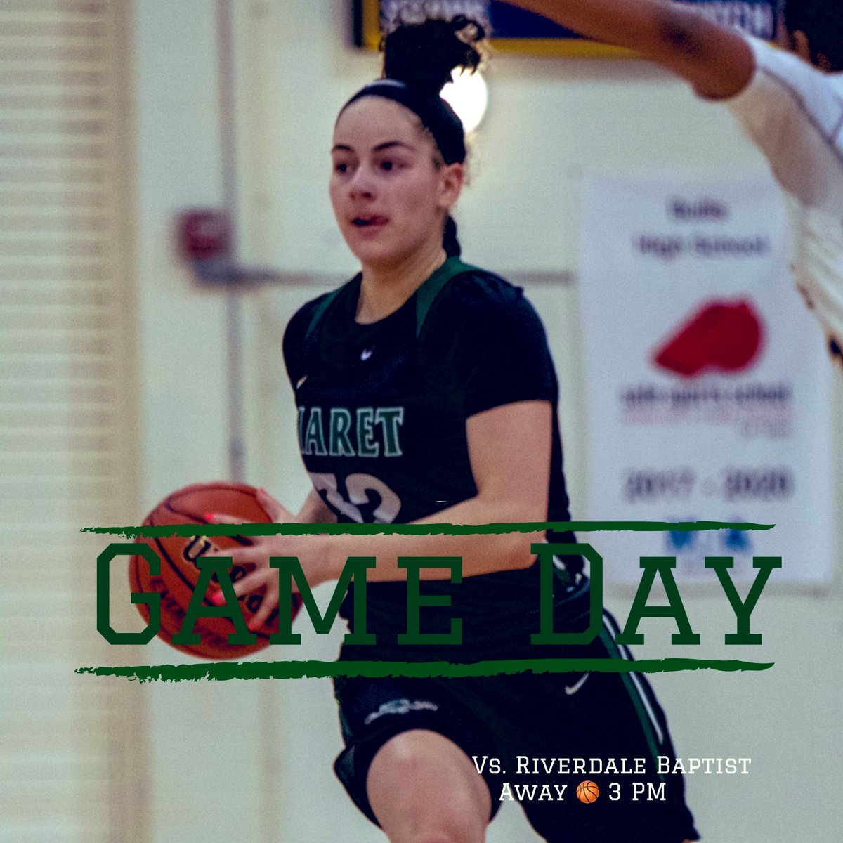 """""""Push yourself again and again. Don't give an inch until the final buzzer sounds""""  Maret takes on @WashPostHS #1 @RBSCrusadersGBB today at Riverdale. Appreciate the opportunity in the DMV to play great competition all season long to grow our game 🧱 📸: '22 PG Page Greenburg"""