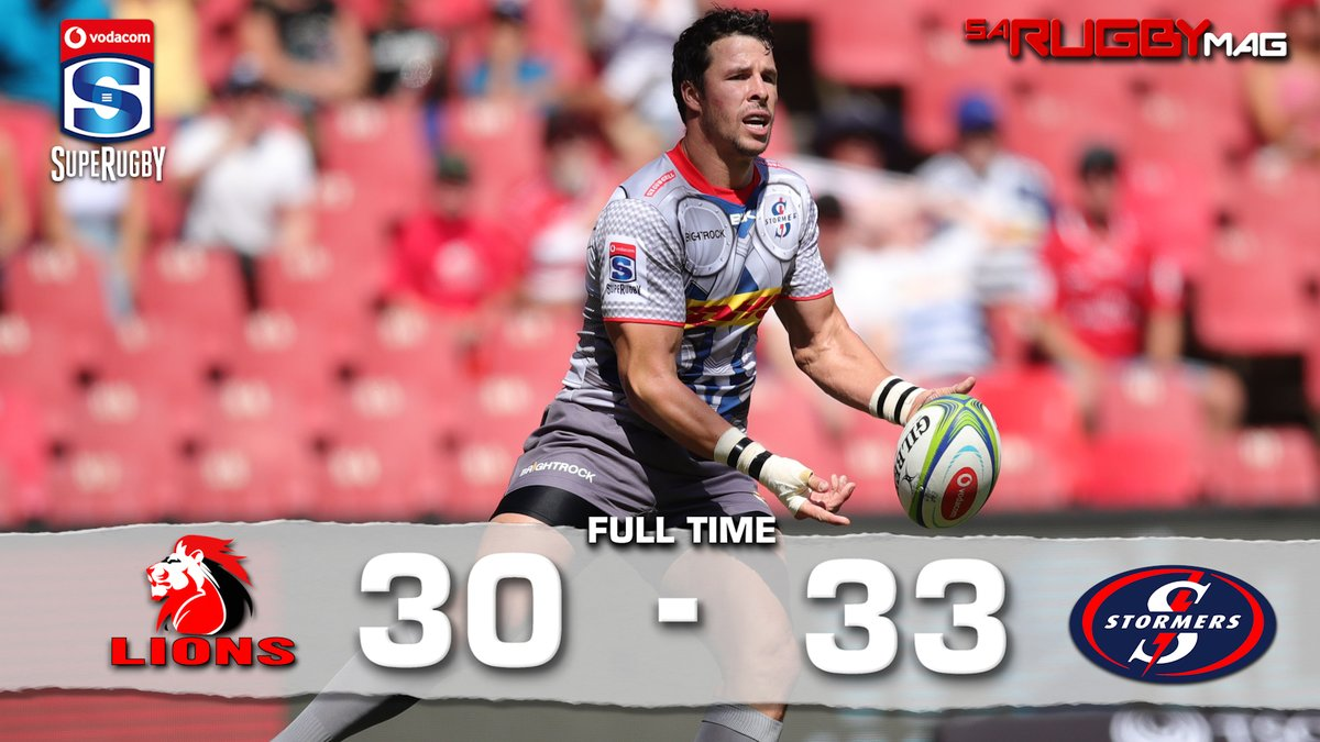 FULL TIME   A late try from Ruhan Nel saw @THESTORMERS snatch victory from the @LionsRugbyCo at the death, to maintain their unbeaten start to the season.   #LIOvSTO <br>http://pic.twitter.com/Cb8Jt8C8m3