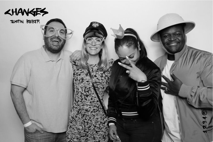 2 pic. #Changes release party with @reneeverm, @poobear and Ashley B. Thank you for having us @justinbieber