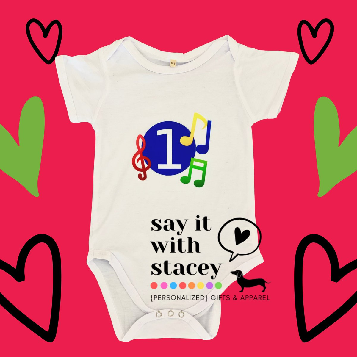 Everybody clap your hands  👏This little guy has a music themed #1styearbirthday party tomorrow! #👉❤️🎁🎊🎉#customonesie #memorablegifts #perfectgift #sayitwithstacey #music #musicthemedbirthday