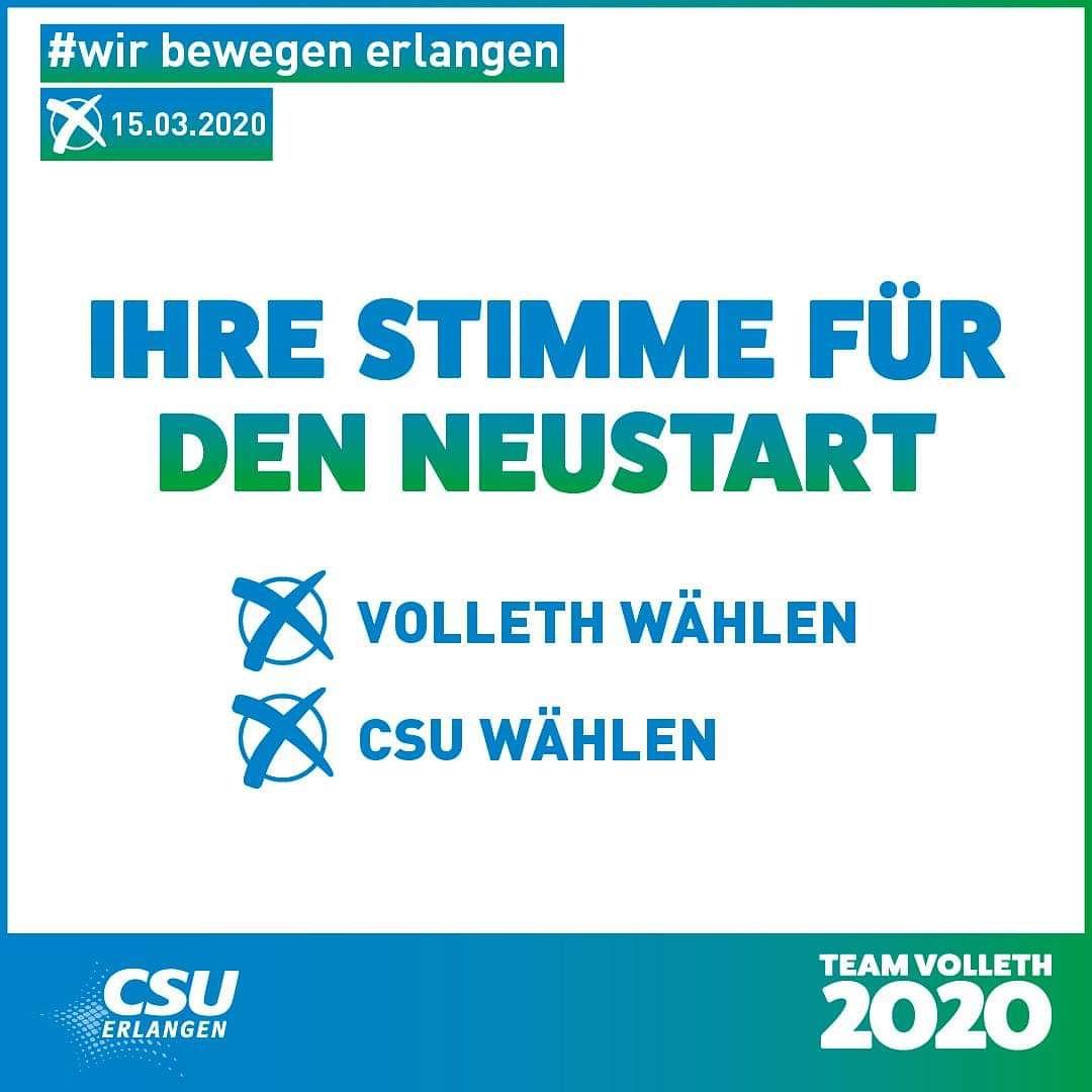 """Neustart für Erlangen am 15. März 2020 - dafür steht OB-Kandidat Jörg Volleth mit den Stadtratskandidaten der @csu_erlangen. In unserer Broschüre """"ERLANGENS 50 BESTE PLÄTZE"""" stellen sie sich vor https://bit.ly/2GY4UKa #wirbewegenERLANGEN #TeamVolleth2020 #erlangenbessermachenpic.twitter.com/i34KCJ9ang"""
