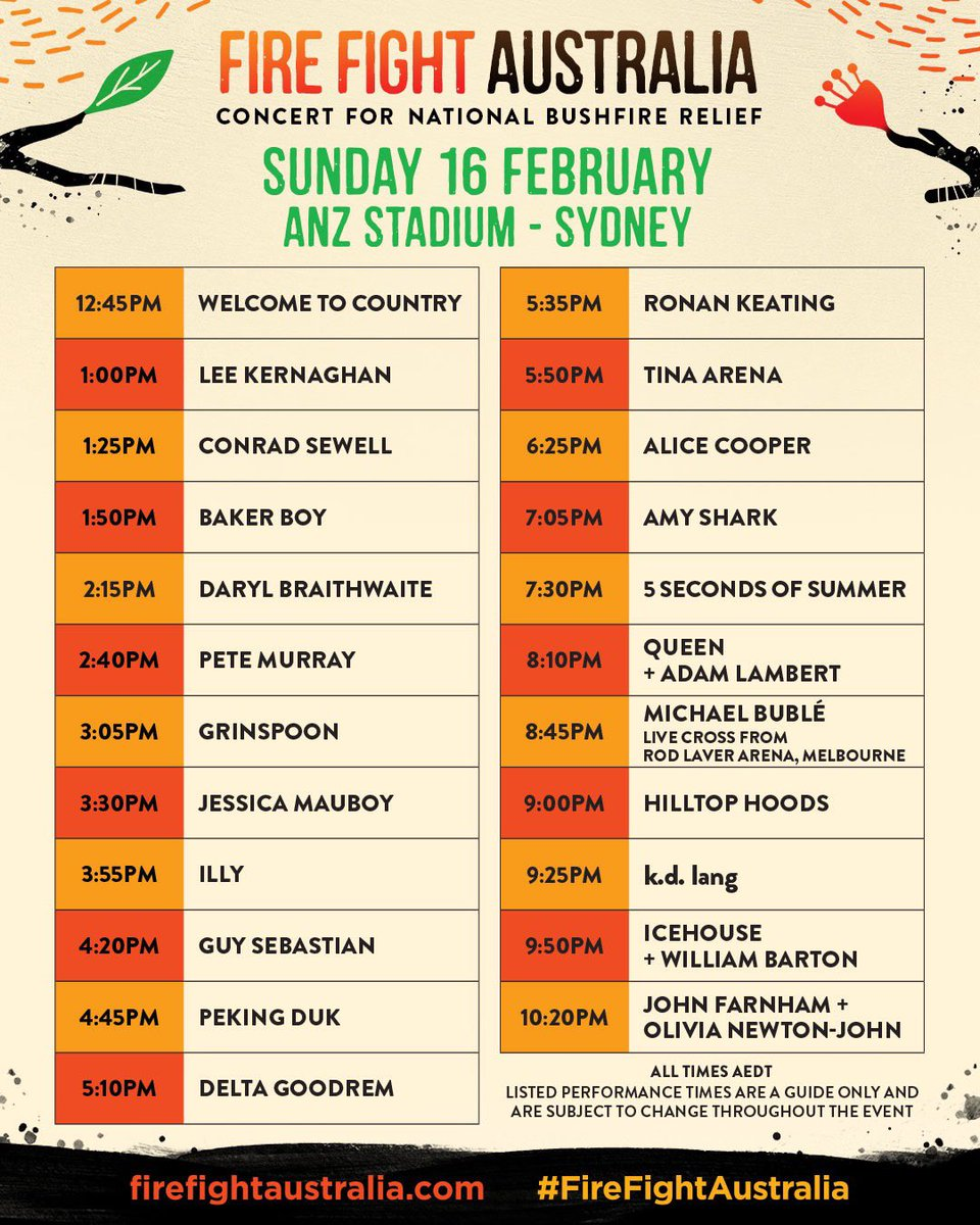 THE MOST IMPORTANT CONCERT EVENT OF THE YEAR IS HERE 🙌  🚂 Catch public transport ⏰ Arrive early 🔒 Allow additional time for security screening process 🎒 Small bags only 🚪 12:15pm: Gates Open 🎤 1:00pm: First act 🧡 Enjoy a wonderful day uniting for #FireFightAustralia