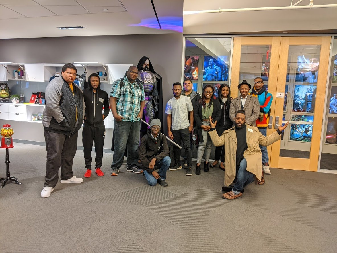As part of our #BlackHistoryMonth activities, last week our BEAT! employee resource group welcomed @HustonTillotson students into our #EAAustin studio. They were given a tour & given a panel discussion where employees discussed their journey into the industry! #WeAreEA