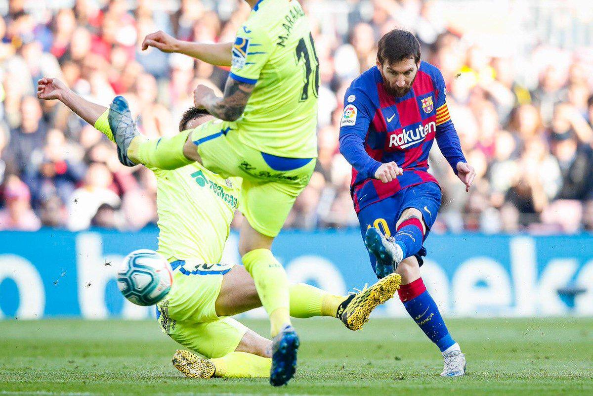⏰ Akhir babak pertama! 💪 Barça 2-0 Getafe ⚽ @AntoGriezmann dan @SergiRoberto10 🔵🔴 #ForçaBarça  #BarçaGetafe