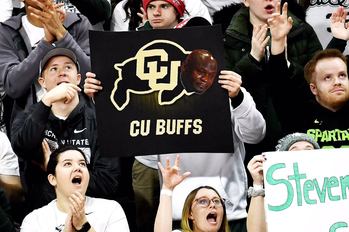 Colorado Buffs crying Jordan sign spotted during the GameDay broadcast. @LSJGreenWhite