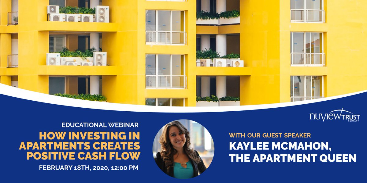 "Join our guest speaker Kaylee Mcmahon for our free, hour-long educational class ""How Investing in Apartments Creates Positive Cash Flow with Kaylee McMahon"".  Register today http://bit.ly/2Hr4M5I   #SDIRA #selfdirectedira #apartmentinvesting #multifamilyinvesting #multifamilypic.twitter.com/PS7QLxgioM"