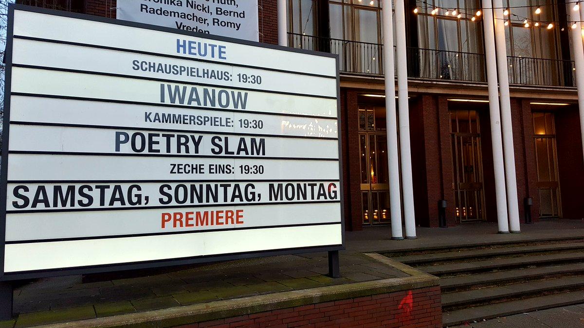 Heute im #schönstestheaterderwelt  #Iwanow / Anton #Tschechow / Johan Simons / #ausverkauft  #PoetrySlam / #Städtebattle / #Ruhrgebiet vs. #Zürich  Samstag, Sonntag, Montag / Eduardo de Filippo / Johan Simons / #Premiere / #Toitoitoi / #Restkartenpic.twitter.com/NUjs5eJlUS