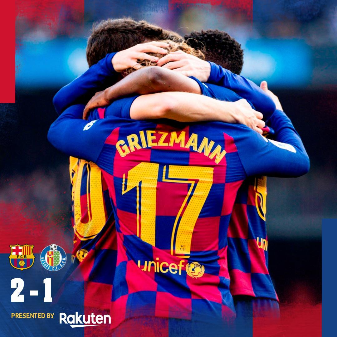 ⏰ Akhir laga ! ⚔ Barça 2-1 Getafe ⚽ @AntoGriezmann dan @SergiRoberto10 / Ángel 🔵🔴 #ForçaBarça