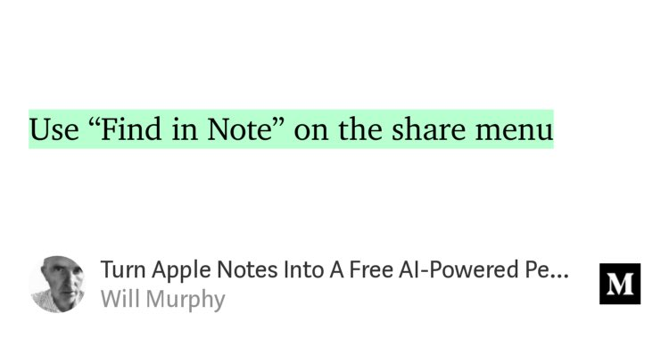 """""""Turn #Apple #Notes Into A Free #AI-Powered Personal Filing System"""" by @WilliamMurphy  """"Share"""" to """"search""""... questionable #ux...  https://link.medium.com/qKWHLHNu63pic.twitter.com/6ouFKJlFH0"""