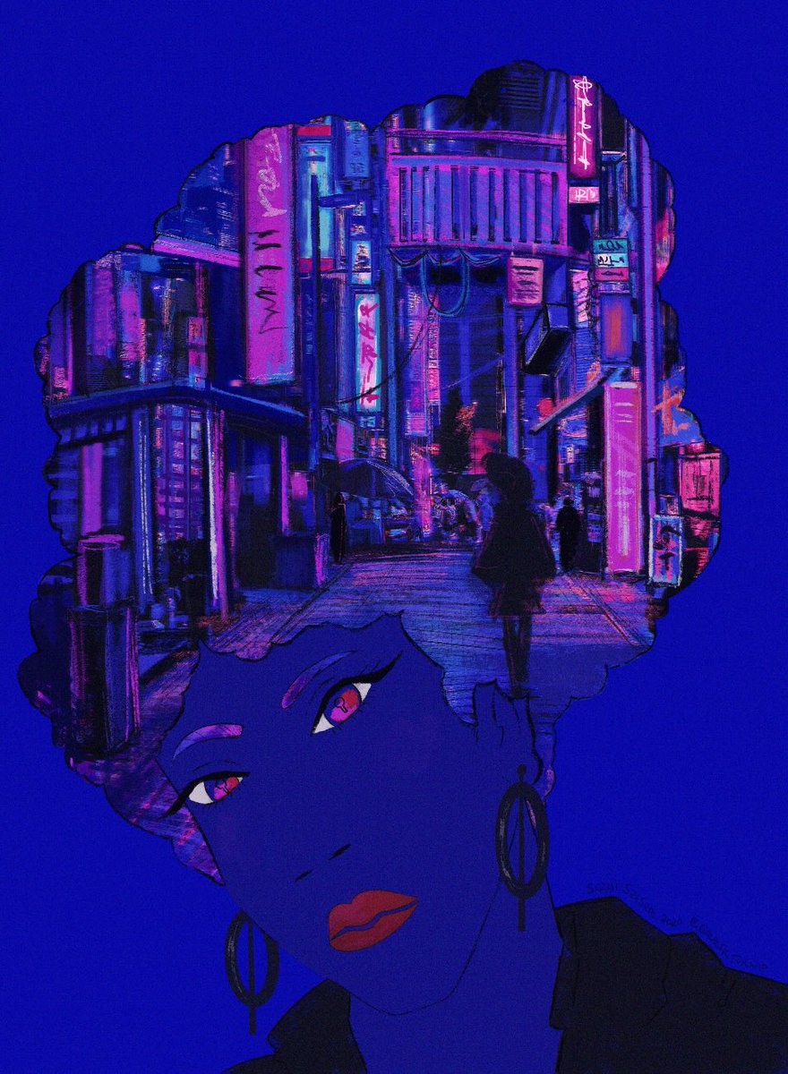 """#BHM_ART2020 art challenge #5, Neo noir/Afro futurism! This might be my favorite yet. As a """"book cover"""" I named it """"The Key to Our Future."""" pic.twitter.com/HGHNkbR8D0"""