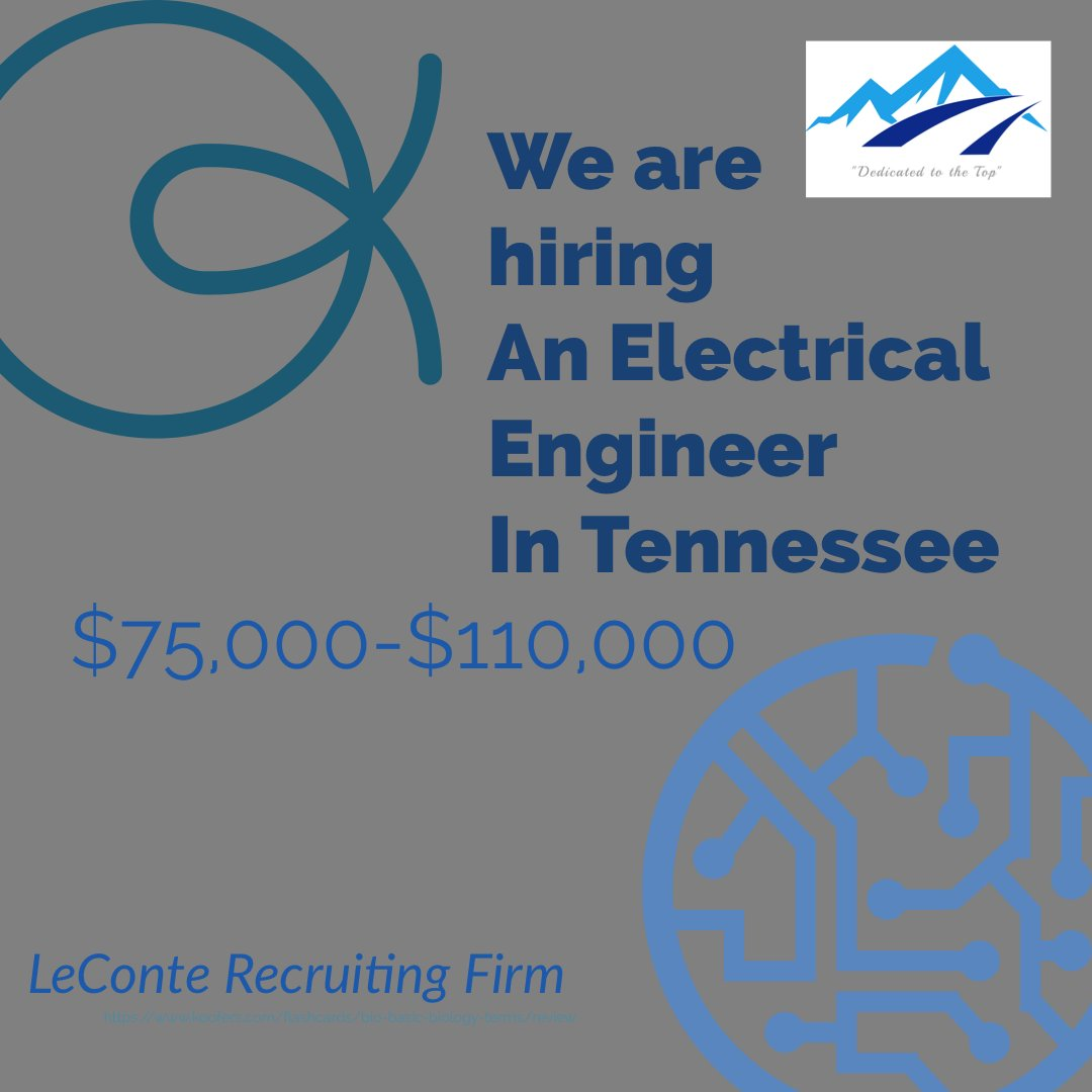 Electrical Engineer needed in Tennessee.  #leconterecruiting #engineeringjobs #engineeringcareers #sixsigma #engineer #electricalengineer #worldofengineering #engineeringpost #womeninscience  #womenintech #femaleengineers #engineering #electricalengineer #womeninsteeltoespic.twitter.com/sGLz7oJtMh