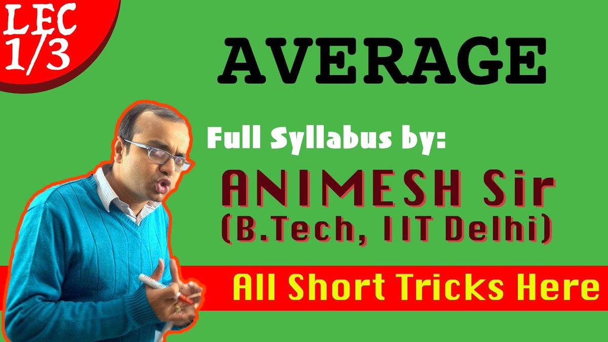 "Check out my latest video ""Average Lec 1 in Hindi | CSAT, Bank PO, SSC CGL, LDC, KVS, Railway Group D, SSC CHSL, RRB""  Watch Now: https://youtu.be/oq4Fu0juNLYpic.twitter.com/7BPdZb3v7e"