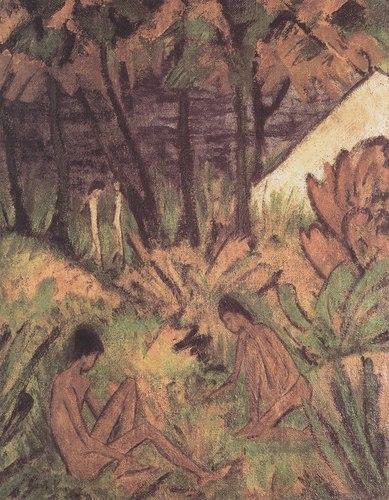 Badende Am Waldsee, 1919 https://www.wikiart.org/en/otto-mueller/badende-am-waldsee-1919… #germanart #muellerpic.twitter.com/wiZphuLfeT