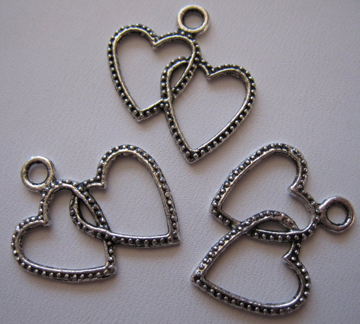 Charms Antique Silver Double Heart Textured 22mm Charms Pendants Findings Jewelry Supplies (Lot of 4) by BySupply  #bysupply #Etsy #HeartPendant