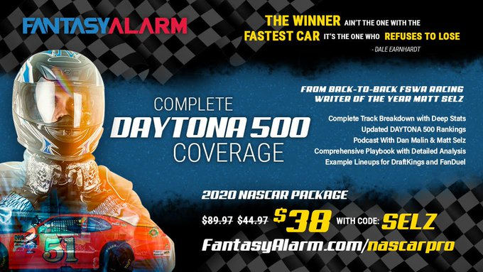 Complete #DAYTONA500 Coverage from @FantasyAlarm & 2x FSWA Racing Writer of the Year @theselzman   Rankings  Track Breakdown  DFS Playbook  Example Lineups for DraftKings & Fanduel  Get #NASCAR advice from the BEST & save 15% more w/ code SELZ at http://fantasyalarm.com/nascarpropic.twitter.com/vmLsvRQeml