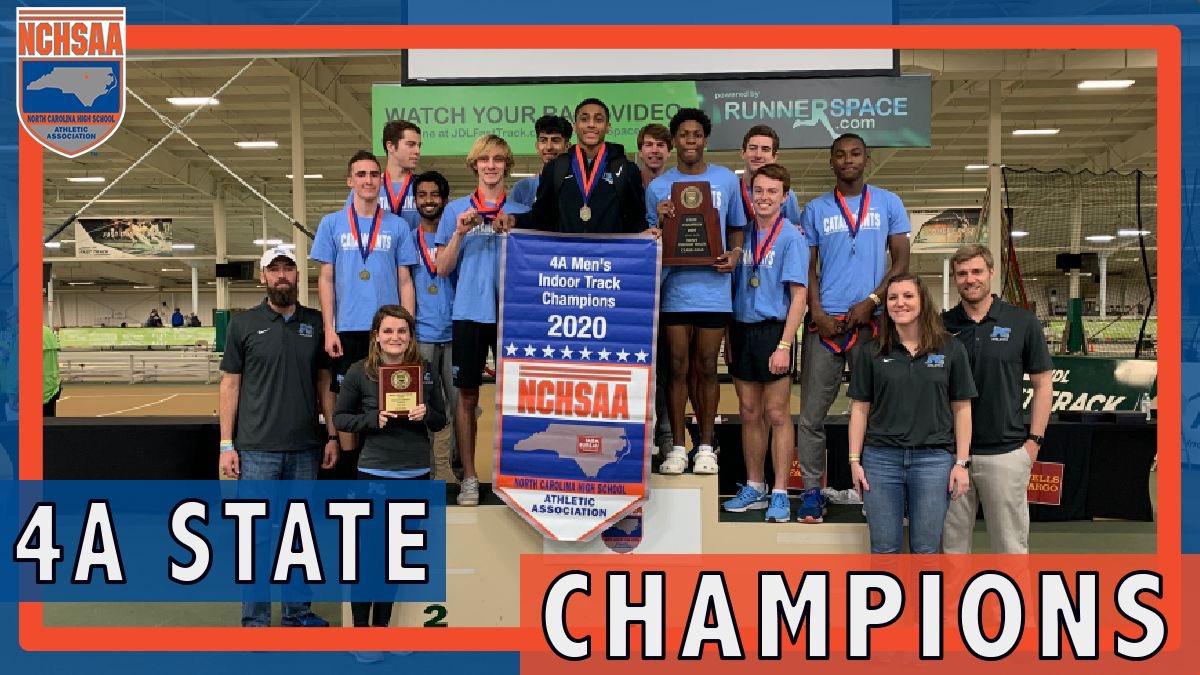 2️⃣0️⃣2️⃣0️⃣ 4A Men's Indoor Track & Field State Champions! 🏆@_Panther_Creek_ #NCHSAAINDOOR 👟