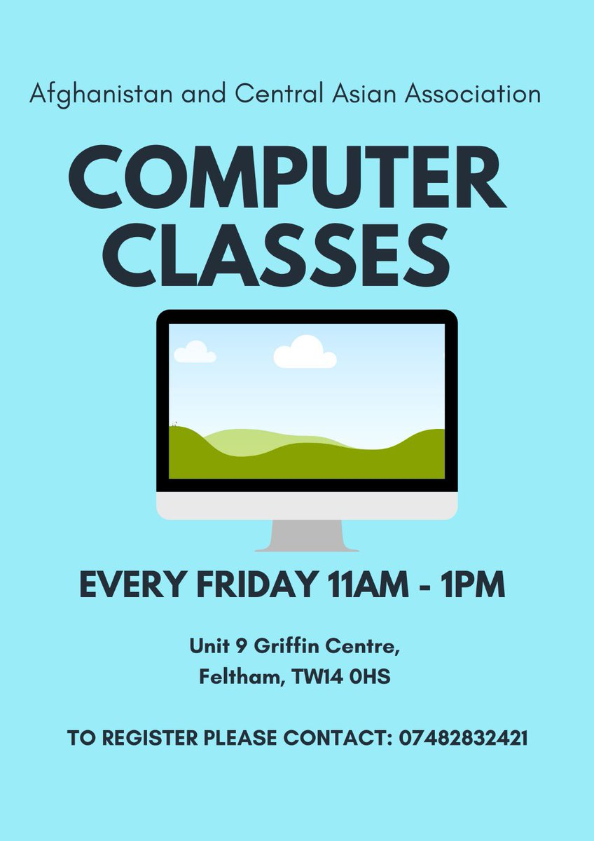 We are going to hold Computer Classes, every Friday from 11am-1pm.  To register, please contact on 07482832421  #computer #classes #ACAA pic.twitter.com/QkhPLOziZQ