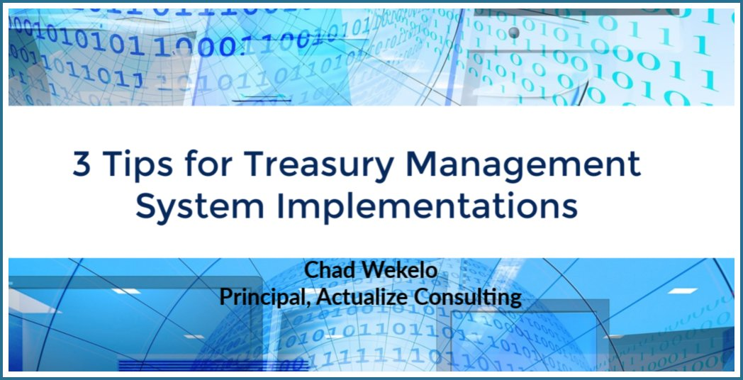 3 Tips for Treasury Management System Implementations  http://bit.ly/3tipsTMS  #technology #techsolutions pic.twitter.com/gRmYHOAAjG