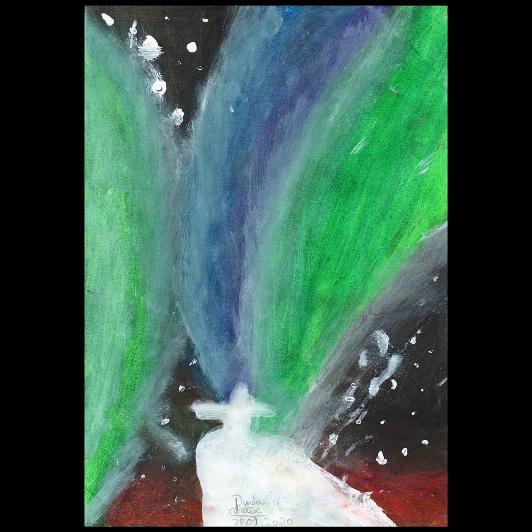 """""""Deus brinca com as cores, através da aurora boreal'' #auroraboreal #cores #paisagem #cristoredentor #adorodesenhar #desenhorealista #animes #manga #mangápic.twitter.com/2doEIH36VL"""