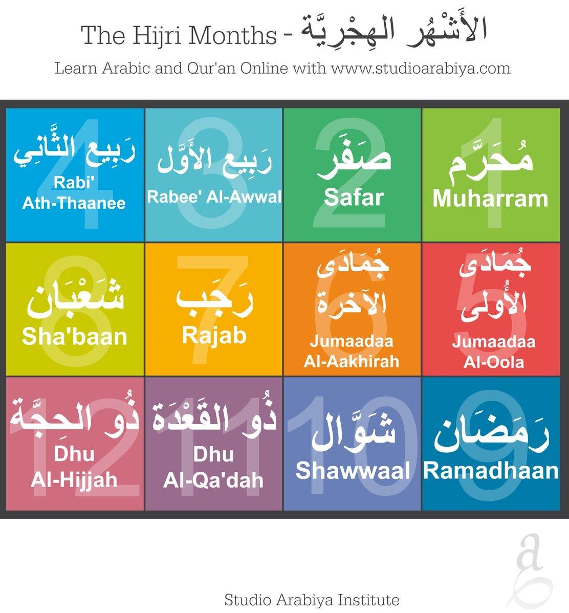 The Hijri Months! . . . #faith #religion #islam #studioarabiya #god #allah #islam #muslim #quran #arabic #education #onlineschool #understandquran #learnarabicpic.twitter.com/xp1M2aHgbH