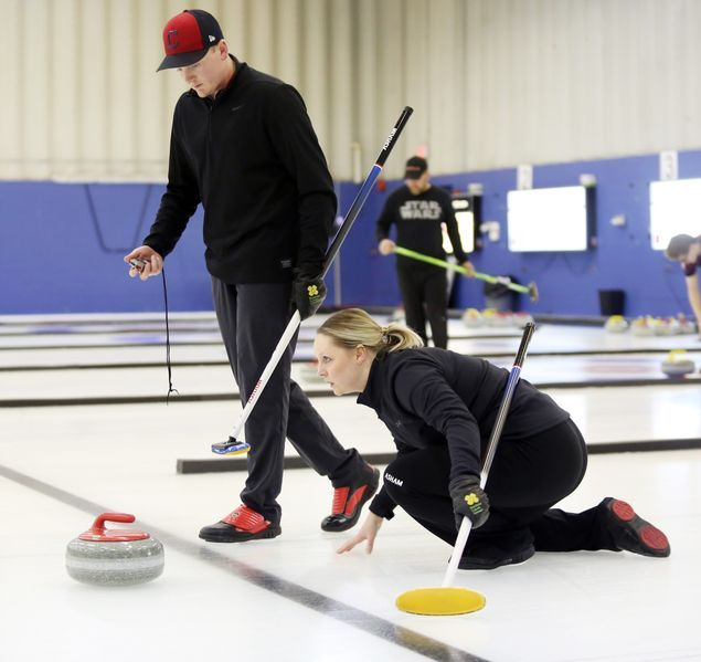 For the first time in two years, Kylee Calvert stepped onto the ice at the Brandon Curling Club during a competitive event with her younger brother Braden.  http://bit.ly/38v948j #bdnmb pic.twitter.com/KfSPswWhqz