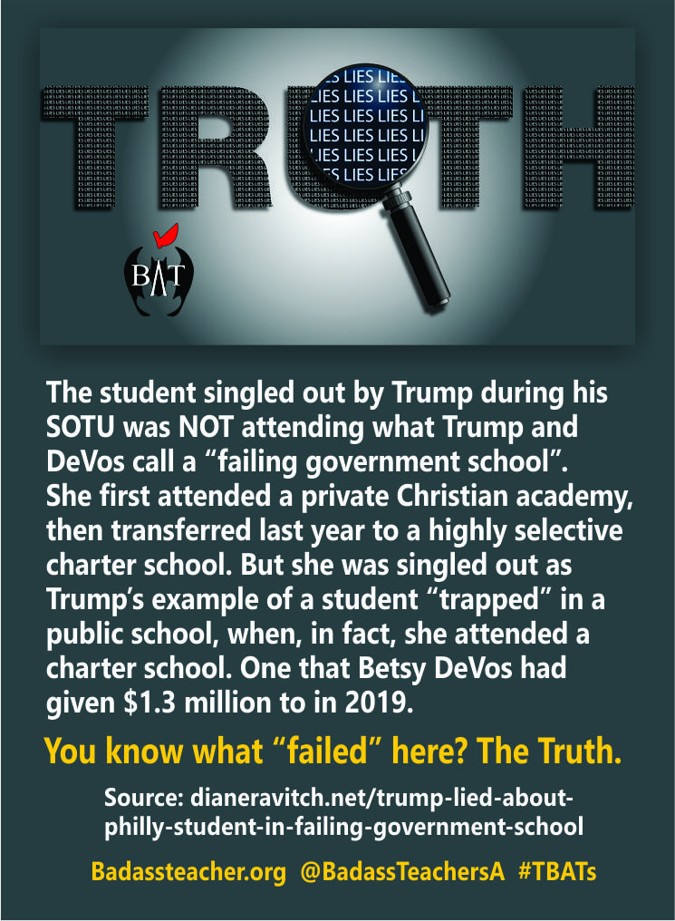 Remember when Trump called public schools government schools and bragged about freeing a child from a failing one. You wont be surprised to hear this, but he lied. It was all a set up to make public schools look bad. dianeravitch.net/2020/02/09/tru…