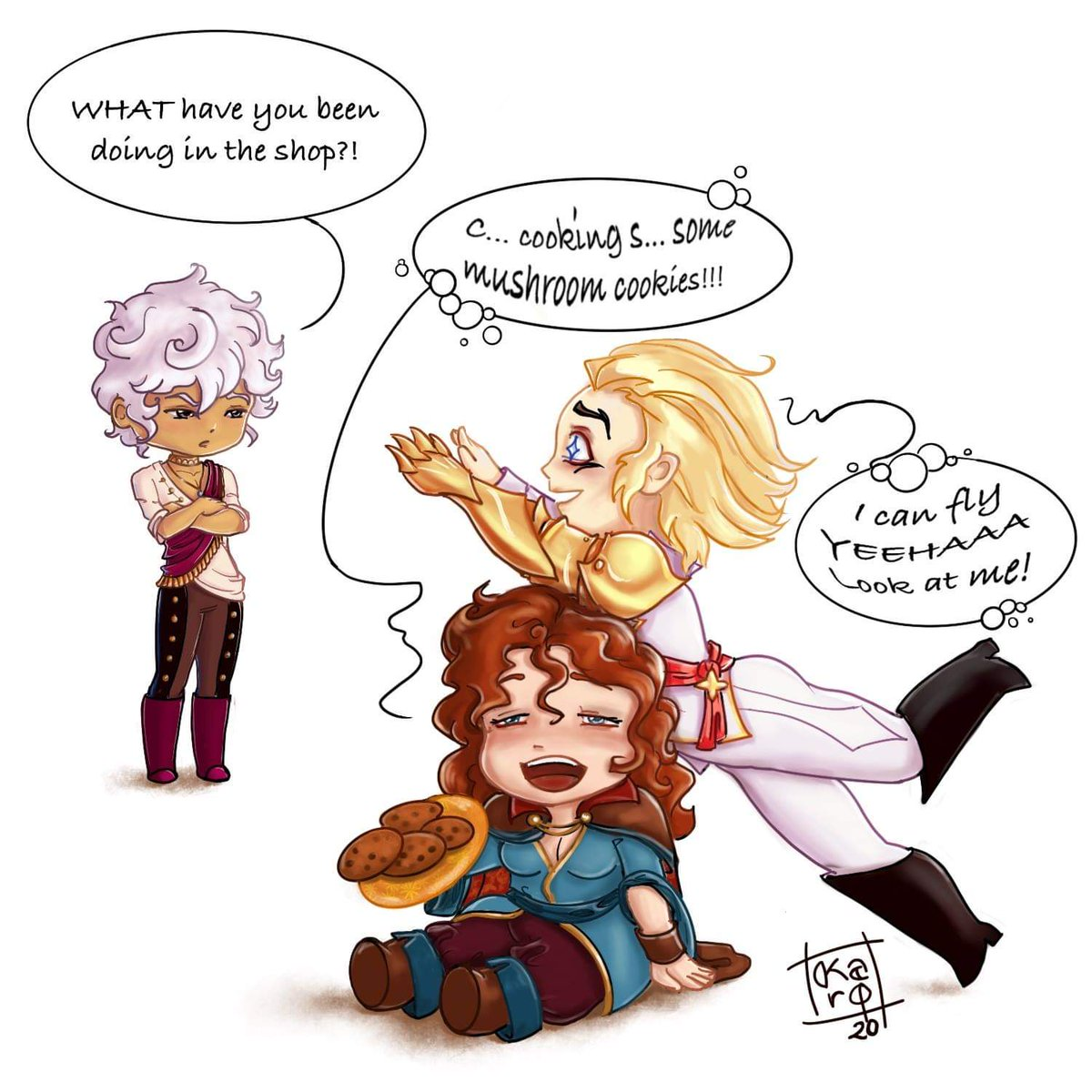 """In Lucio's last update (book XIII), what if MC decided to keep the *cough* """"weird mushrooms"""" into the cookies they bake with Lucio?... I couldn't resist drawing the result  Staring Asra, Lucio and my MC Aisling.  #thearcana #thearcanagame #thearcanamc #asrathearcana #countluciopic.twitter.com/3y5kWlaxu5"""