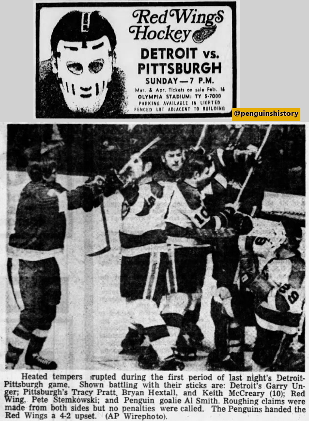 #Pens earn first-ever victory in Detroit, beating #RedWings 4-2, Feb. 15 1970. They had lost their first six games there. #LetsGoPens