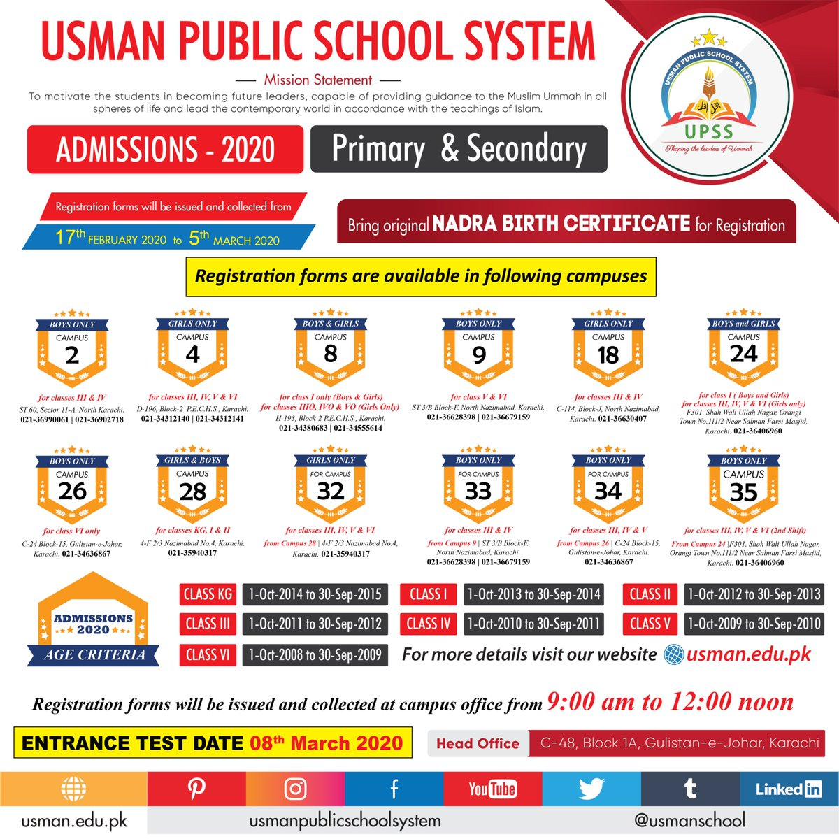 Registrations open for Admissions 202021 #open #usmanpublicschool #boys #2ndround #upss #karachicampuses #admissions #education #students #admission #school #admissionopen #admissionsopen #karachi #pakistan #islamicschool #studentscouncilpic.twitter.com/63DvDmd3oW