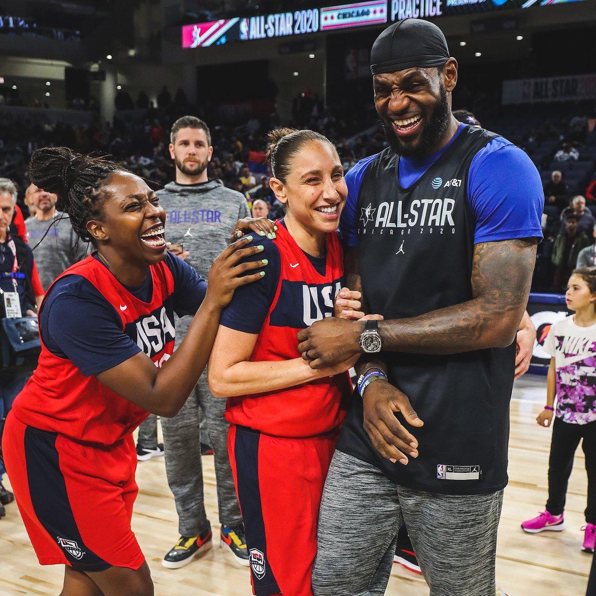 Basketball family 💜  #USAWNT x @NBAAllStar