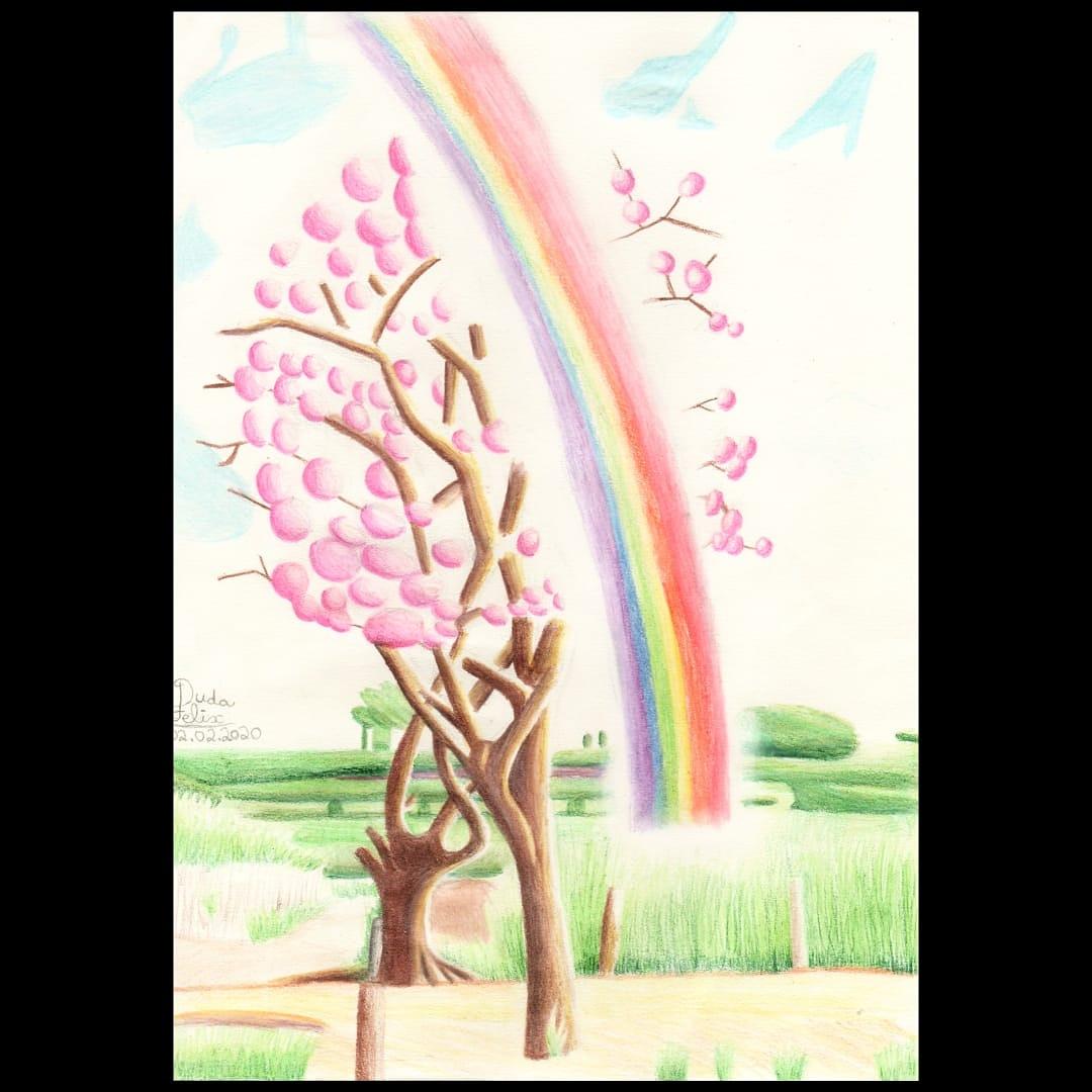 """""""ouvi dizer que o arco-íris, quando não está no céu, esconde suas cores dentro de você"""". #arcoíris #arcoiris #cores #multicor #paisagem #desenhorealista #adorodesenhar #ipêrosa #rainbow  #campopic.twitter.com/qsX9AwK60O"""