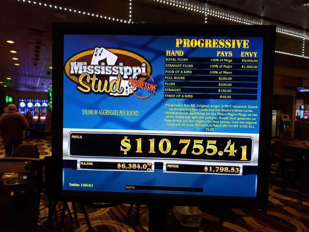 The Mississippi Stud, Ultimate Texas Hold'Em & 3 Card Poker Progressive is currently over $100,000! 🤑