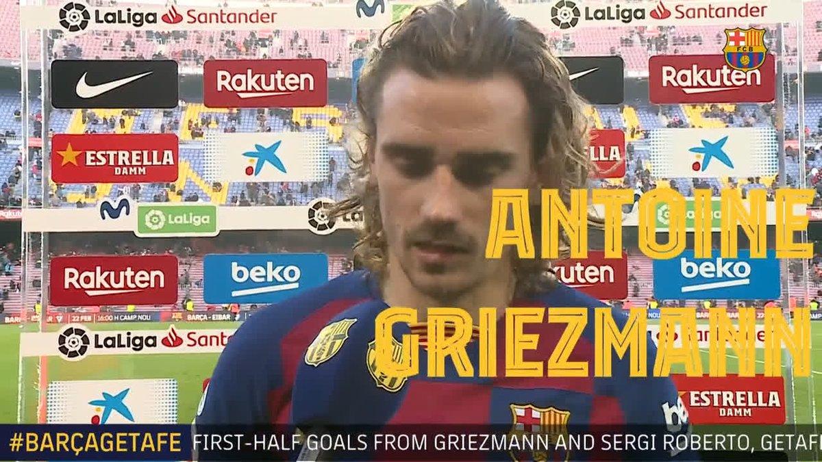 🎙 @AntoGriezmann: 「僕らは前半良い試合をしたと思う。後半は少し、厳しかった。試合を決められるチャンスを手にしたのに、僕がミスしてしまったが、苦しんだ末に勝つことができた」  🔵🔴 #BarçaGetafe 2️⃣-1️⃣