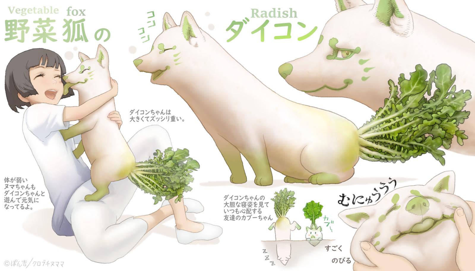 野菜狐の妖精 ダイコン 大根の名前の由来は、大きな根を意味する大根(おおね)からで 生でも煮ても焼いても消化が良く、食当たりしないので 何をやっても当たらない役者を(大根役者)と呼ぶらしいわよ。🦊🥬✨