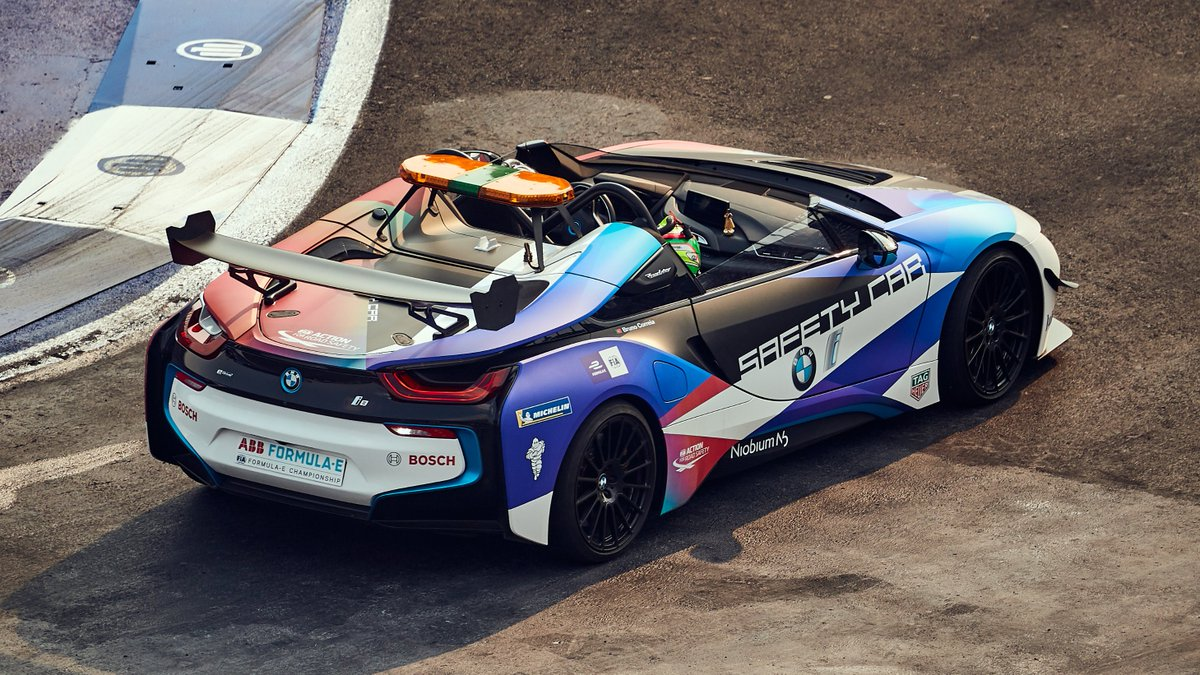 Only a few hours old and already in use: the newly designed BMW i8 Roadster Safety Car. #RacingBeyond #BMWi #BMWiMotorsport #ABBFormulaE #MexicoCityEPrix