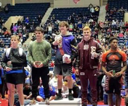 Benedictine Military School senior Jake Farthing placed 3rd in the state in the 160-pound weight class in Class AAA of the GHSA Wrestling State Championships today in Macon! After receiving his medal, he and BC Wrestling Head Coach Joe Tvrdy posed for a photo. #thebc400 #Savannah