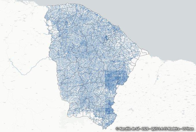 Mapa dos Rios no OSM