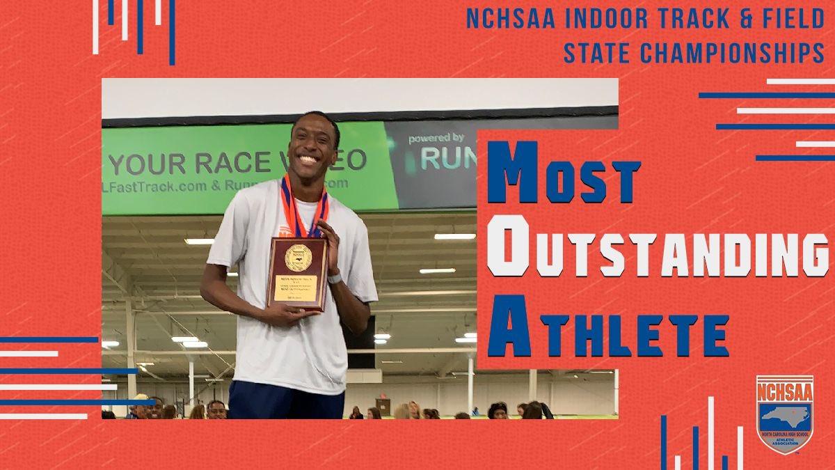 Men's 1️⃣A/2️⃣A Most Outstanding Savion Thompson @rockinrams #NCHSAAINDOOR 🏆