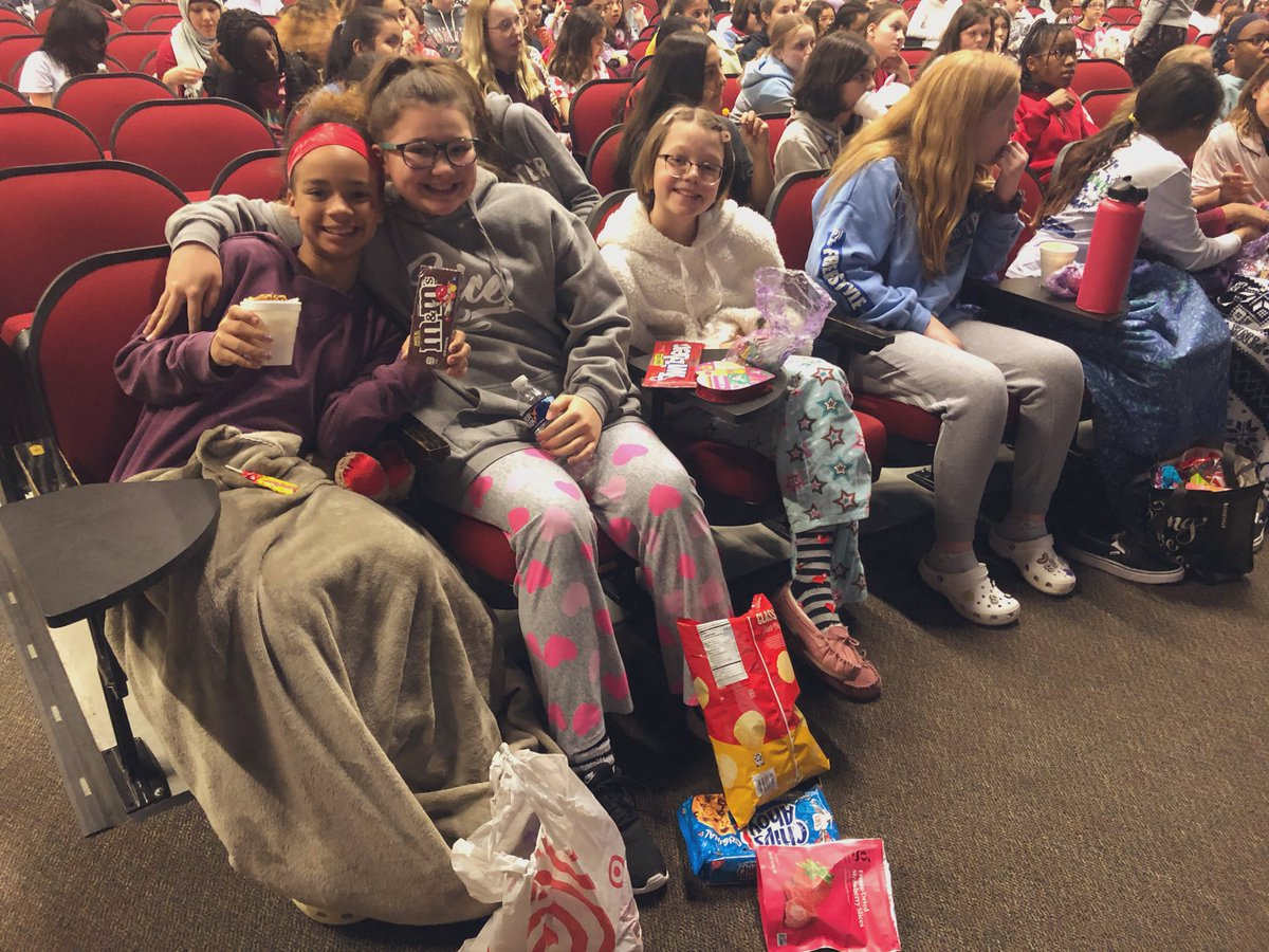 "Had a fantastic ""Galentines Day"" celebration with Team Pocahontas today! PJ's, popcorn, puppies, and a movie with 350 of your best friends!? We couldn't ask for better girl bonding.  #teampocahontas #girltime #galentinesday #girlpower #middleschool @1PrincipalOwens @woodbridge_mspic.twitter.com/FWYsX89WQw"