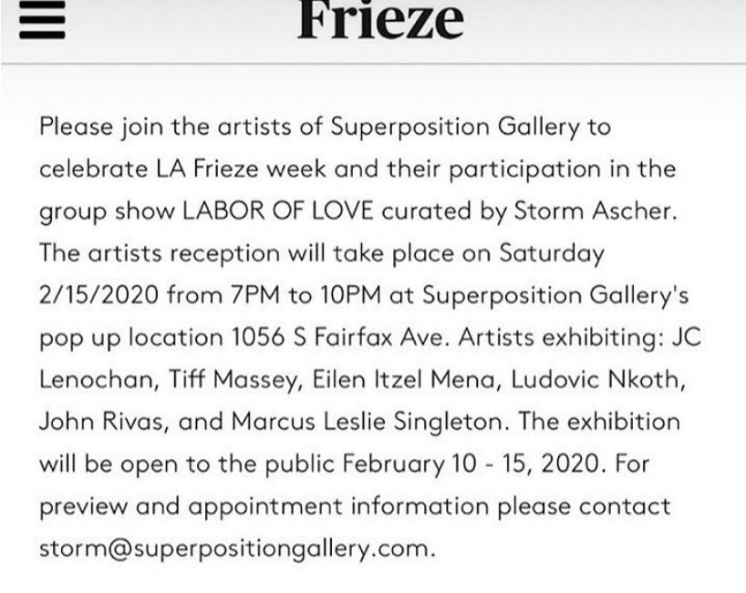 #SuperpositionGallery @eilen_itzel #StormAscher #friezelosangeles Saturday 2/15
