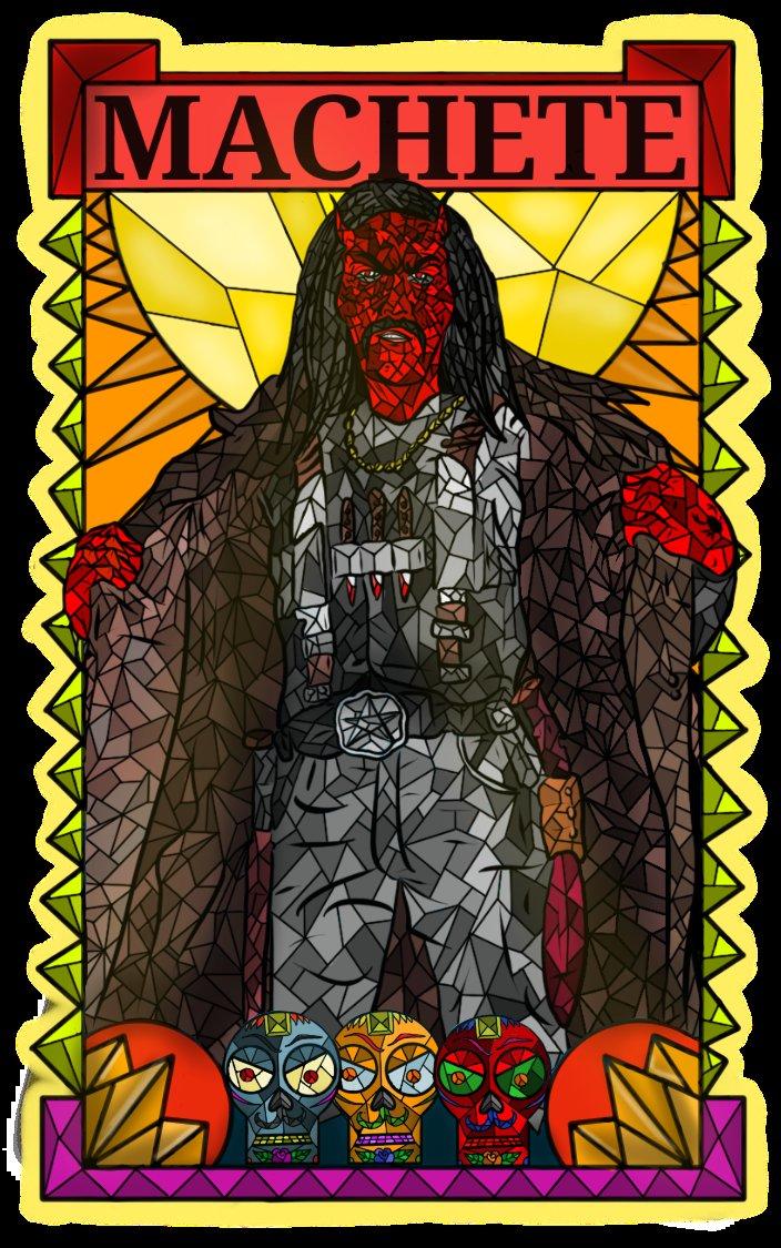 Machete don't text :) machete would make a badass demon sought on exacting revenge on criminals #machete #stainedglass #mosaic #dannytrejo #Devil #Artist