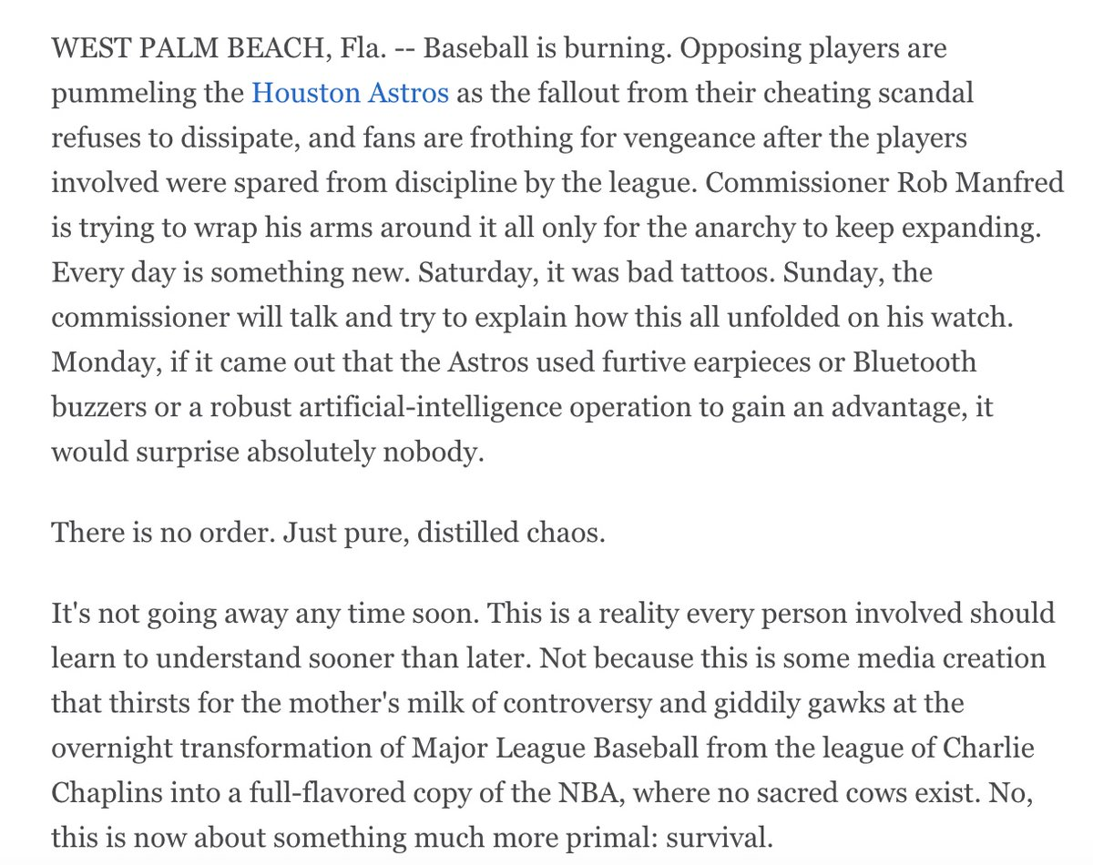 Baseball is burning. Column: es.pn/2OS7IfZ