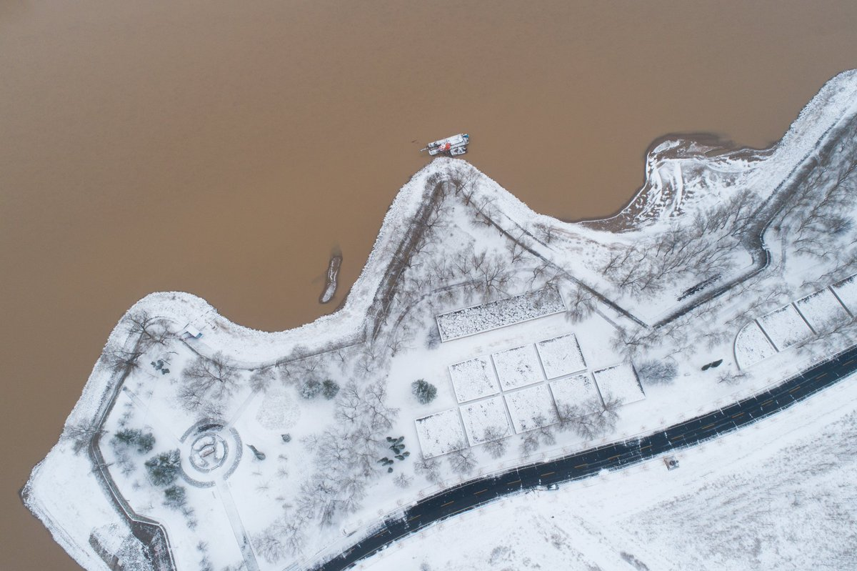 Stunning snow scenery of Yellow River in Shandong Province, east China