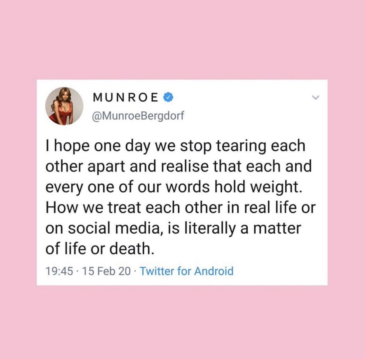 🙏🏻 have to re share these words from you gorgeous xx so true and real at this time @MunroeBergdorf