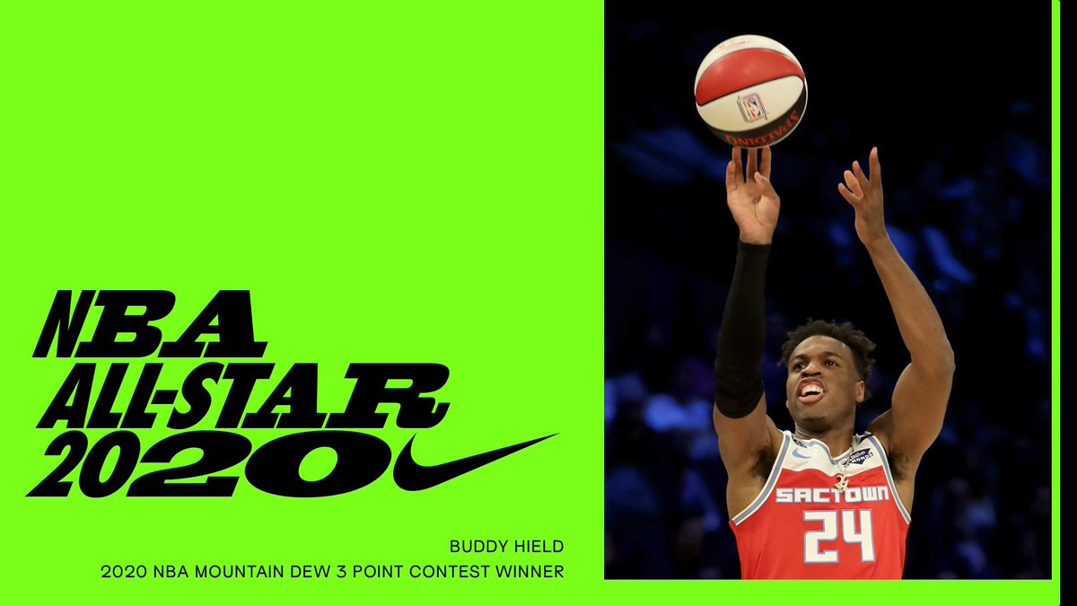 Money Ball.⠀Congratulations to the Mountain Dew 3 Point Contest winner @buddyhield. #NBAAllStar #Nike
