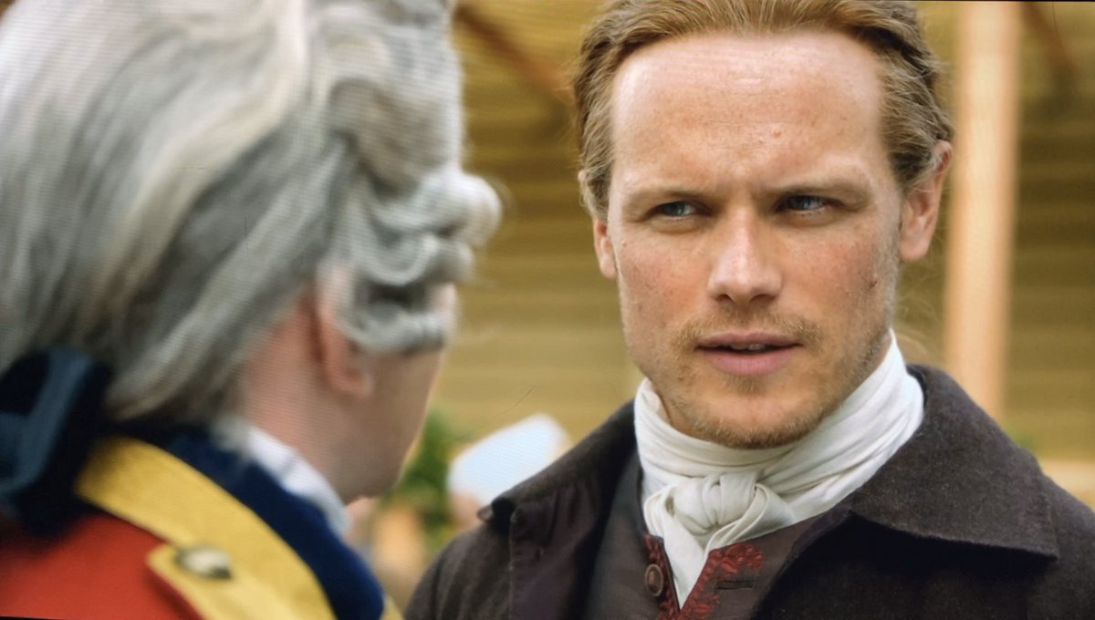 These two! Great acting by both! ShowTryon is much more douchey than BookTryon, but I love to hate @TimDownie1 opposite @SamHeughan . Jamie looks like he's struggling not to pound his face through the entire convo. Their body language is so intuitive, they hardly need a script!
