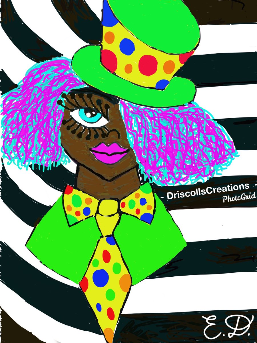 """I call this digital art piece """"Glam Comedy""""🌈🎨👑💅🏻💄💎💋🤡🤡🤡🤡🤡🤡🤩 #drawing #art #digitalart #clown #glamorous #glamcomedy #blackqueen #portrait #africaninspired #urbaninspired #colorful #fashion #artist #writer #jewelrymaker #etsyseller #squarespace #unique #eccentric"""